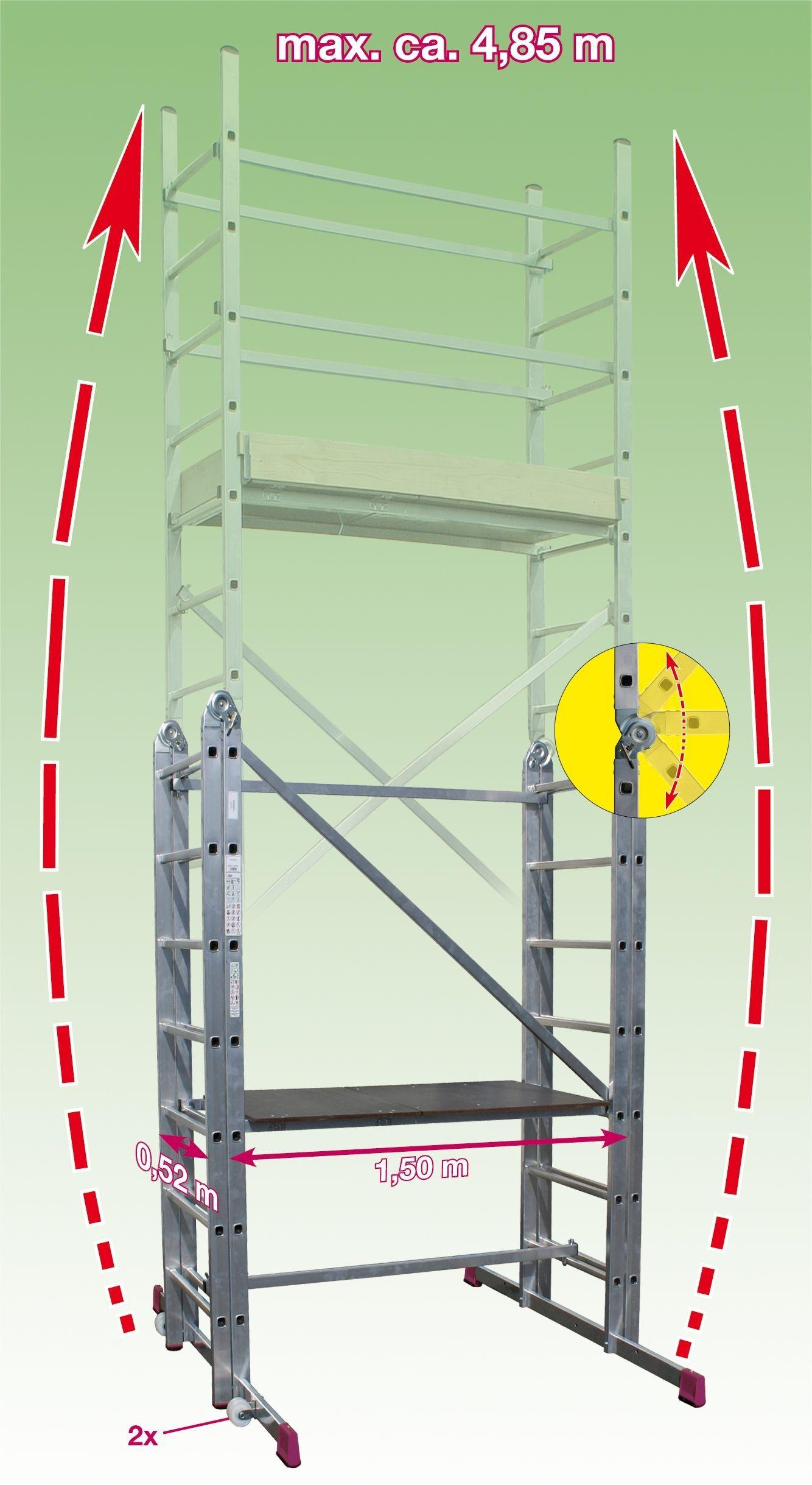 Slika KRAUSE CORDA SKELA VIŠENAMJENSKA MAX.RADNA VISINA 4,85 m NOSIVOST 150 kg