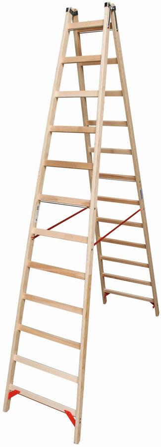 Slika KRAUSE STABILO DRVENE LJESTVE 2x12 reda radna visina 4,55 m